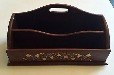 Vintage Wood Desk Top Organizer From India Shiny Gold Colored Leaf Design Nice