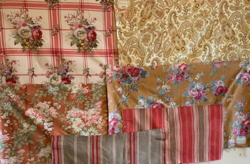 Beautiful Collection Of 6 French Ticking Stripes And 20th Cent Printed Florals