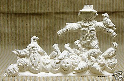 Ceramic Bisque Scarecrow and Crows Scene Nowell Mold 2030 U-Paint Ready To Paint