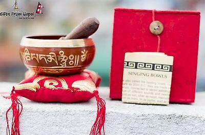 Tibetan SINGING BOWL Chakra Healing Buddhist Yoga Copper Hammered Meditation Red