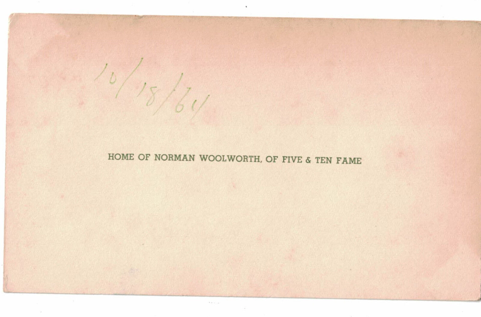 10/18/64 Postcard Home of Norman Woolworth Of Five & Ten Fame Florida