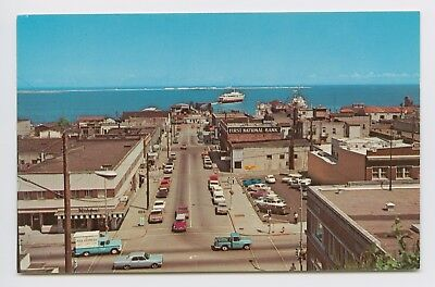 Postcard - Port Angeles, WA - BIRDS EYE AIR VIEW - Old Cars Ferry Harbor Water