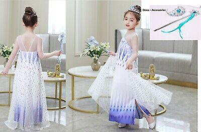 Snow Girl Halloween Costume (Childrens Kids Girls Queen Elsa Magic Snow Ice Dress Halloween Costume)