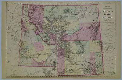 1884 Genuine Antique Map Idaho, Montana, Wyoming. by W Bradley