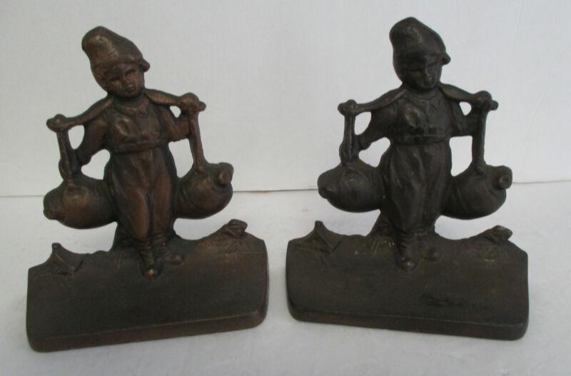 Vintage Cast Iron DUTCH BOY Bookends circa 1925