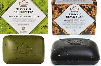 Nubian Heritage Olive - Nubian Heritage -1 Pk- Afri Blk Soap +1 Pk Olive Oil & Green Tea Soap