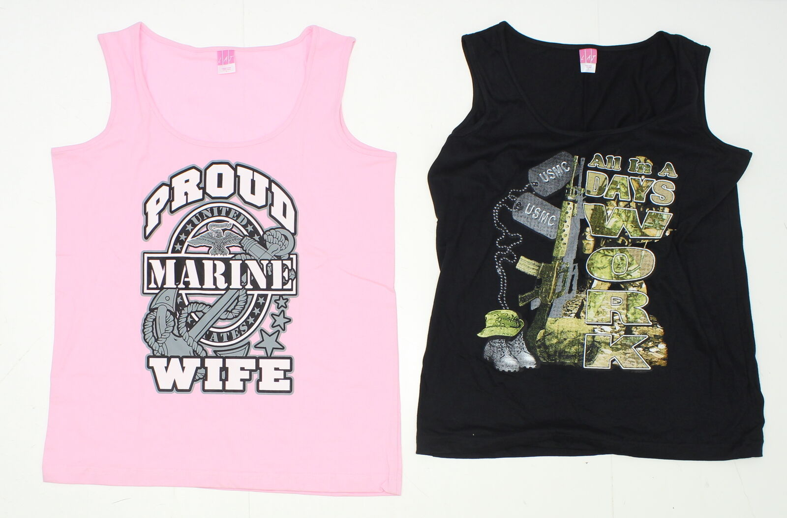 cc70a759be33ee NEW LAT Ladies LOT OF 2 Graphic Military Tank Tops Pink and Black ...