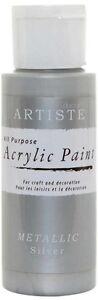 Artiste 2 oz Acrylic Paint, Metallic Silver DOA763101