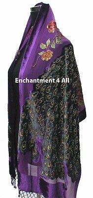 Stunning Beaded Silk Velvet Peacock Scarf Shawl, Purple