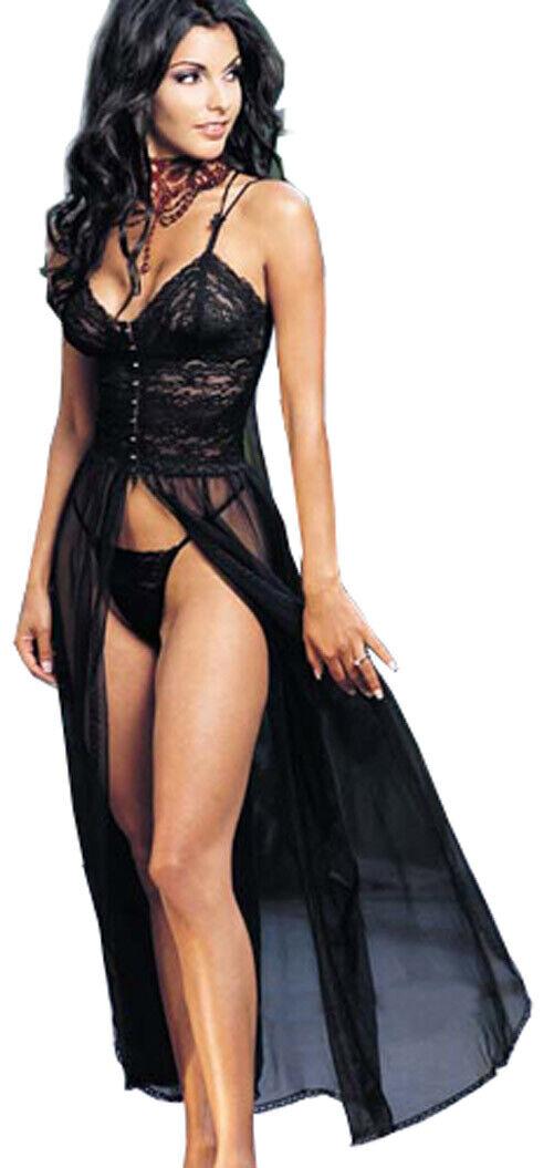 Nachtkleid lang  Negligee Schwarz M L XL schwarz  36 38 40 42 Transparent
