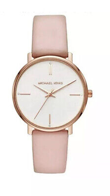 Michael Kors Women's Rose Gold-Tone White Blush Leather Watch  MK7102 43mm