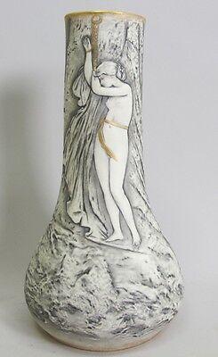 Rare Austrian Plasto Art Nouveau Porcelain Vase  Nude Maiden  c. 1910  antique