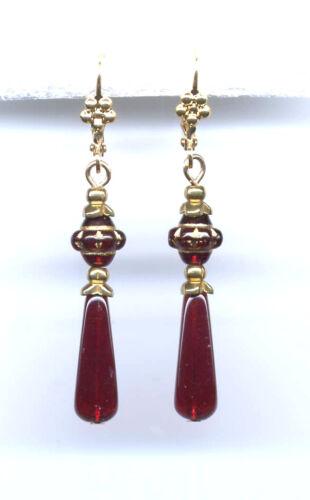 Bohemian GARNET ETCHED cut-crystal BRIOLETTE Drop Earrings 14K Gold gp Vtg Czech