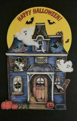 1980 VINTAGE HALLMARK HAPPY HALLOWEEN SCARY HOUSE WITH GHOST AND BATS DIE CUT -
