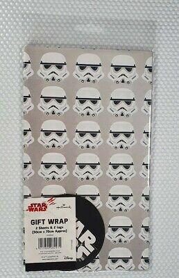 Hallmark Star Wars Stormtrooper Gift Wrap *NEW* 2 Sheet & 2 Tags