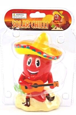 Solar Red Chili Playing A Guitar w/ Sombrero Solar Powered Dancing Toy NEW  - Red Sombrero