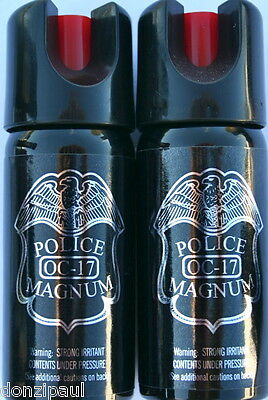 2 PACK POLICE MAGNUM OC-17 MACE PEPPER SPRAY 2oz OUNCE  SAFETY LOCK STREAM