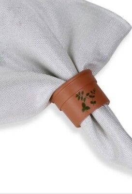 FLOWER Pot Napkin Rings ~ set of 6 ~ FAST FREE SHIPPING -