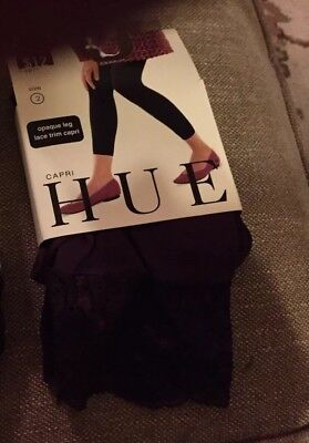 Capri Lace Tights (NIP Hue Opaque Eggplant Capri Length W/lace Trim Tights Great For Holidays Sz 1)