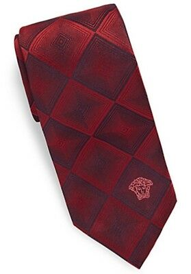 "Versace Collection Logo Embroidered Silken Tie 3"" Wide  BORDEAUX Made in Italy"