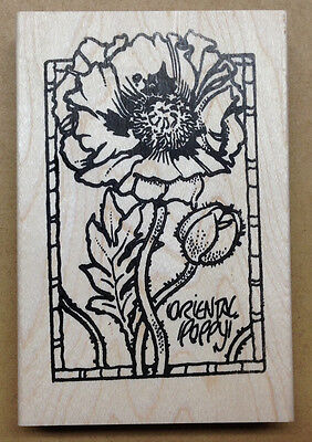Mounted Rubber Stamps, Flowers, Lg. Oriental Poppy Frame, Poppy Stamps, - Poppies Frame Mount