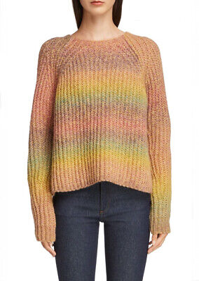 ACNE Kyla Rainbow Knit Sweater In Yellow/pink NWOT Size S