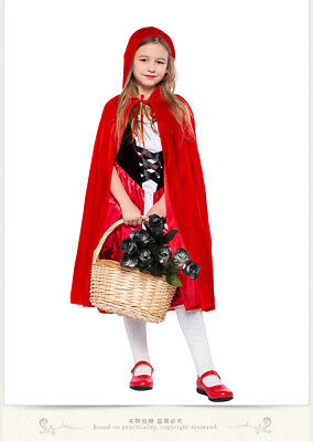 Little Red Riding Hood Costume Kids Girls Fairy Tale Halloween Fancy Dress ZG](Red Riding Hood Costume For Girls)