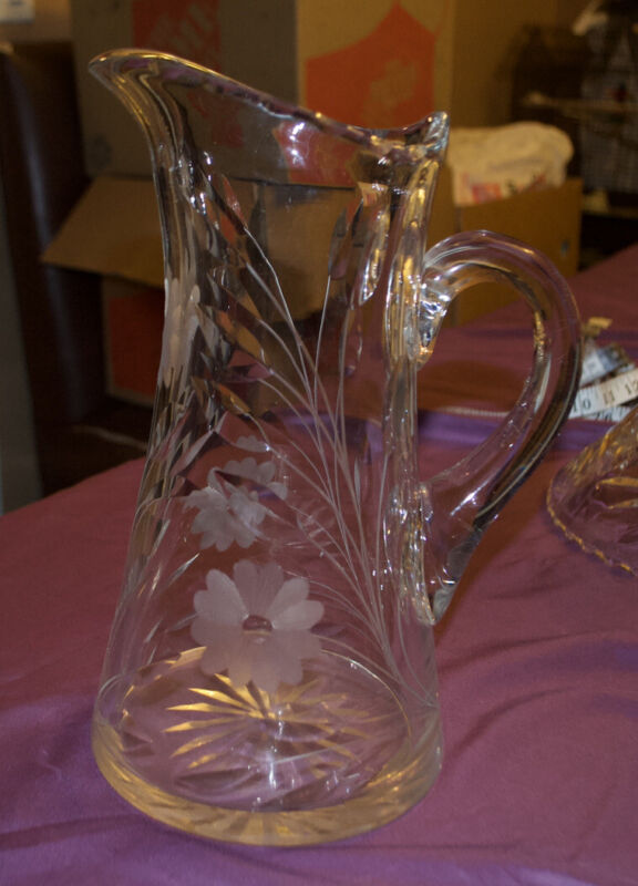 Antique American Brilliant Heavy Cut Crystal Glass Water Beverage Pitcher
