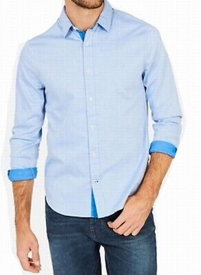 Nautica Blue Mens Size 2XL Two Tone Twill Slim-Fit Button Down Shirt $59 187