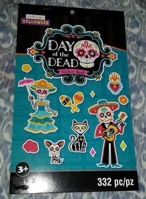 Day of the Dead Sticker Book 332 Teacher Supply Party Favors Sugar Skulls 6 pgs