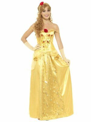Smiffys Golden Princess Belle Beauty Fairytale Adult Halloween Costume 45969](Belle Halloween Costume Adults)