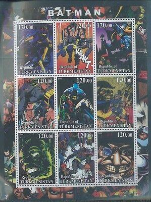 BATMAN Comic/ Cartoon - Mini Sheet of 9 MNH TURKMENISTAN - E45