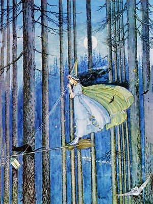 Ida Rentoul Outhwaite Witch Cat Broom Trees Halloween vintage art - Halloween Art Prints