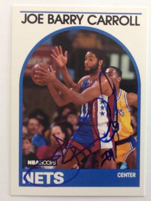 Joe Barry Carroll 1989 Hoops Hand Signed Card New Jersey Nets HOF RACC