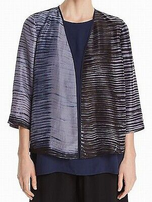 Eileen Fisher NEW Gray Black Womens Small S Silk Open Front Jacket $398- 794