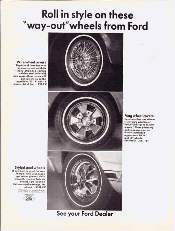 1966 FORD ACCESSORIES WHEEL COVERS ~ ORIGINAL PRINT AD