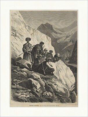 Tscherkessen im Hinterhalt Kaukasus Volk Gebirge Räuber Holzstich E 19496