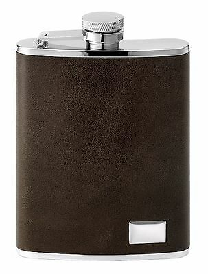 PALLONE tasca,Flachmann in acciaio inox con marrone pelle 170 ml,6oz no. 543500