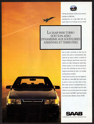 1988 SAAB 9000 Turbo Vintage Original Print AD - Black car photo French Canada, used for sale  Quebec