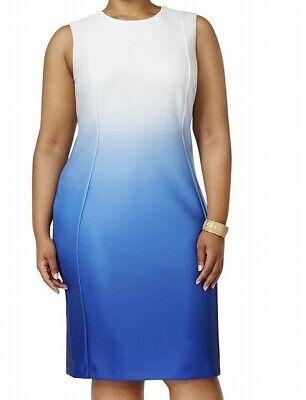 Calvin Klein Womens Sheath Dress Blue Size 20W Plus Dip-Dyed Scuba $139- 455