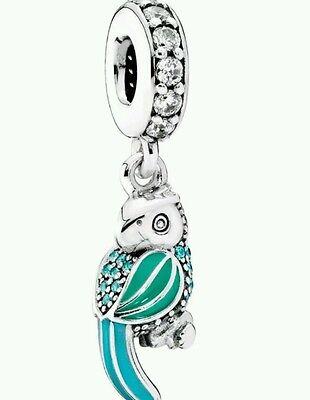 Authentic Sterling Silver Pandora Tropical Parrot Dangle Charm 791903ENMX