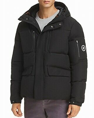 Save the Duck Mens Jacket Solid Black Size XL Hooded Parka Full-Zip $568 #117