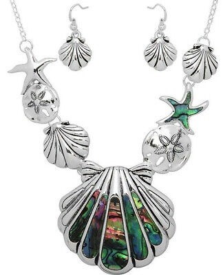 Abalone Sea Life Necklace and Earrings Set Shell Sand Dollar (Shell Necklace And Earrings)