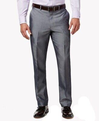 Sean John Mens Dress Pants Gray Size 30X30 Striped Classic-Fit Stripe $120 #081 Grey Polyester Mens Dress Pants