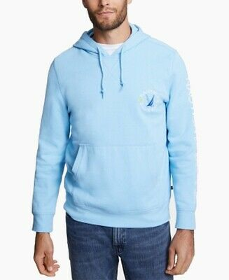 Nautica Mens Sweater Blue Size 2XL Hooded Pullover Drawstring Fleece $59 063