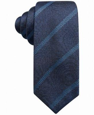 Alfani Men's Stripe Pattern Slim 2.75'' Silk Neck Tie, Navy Blue, One Size ()