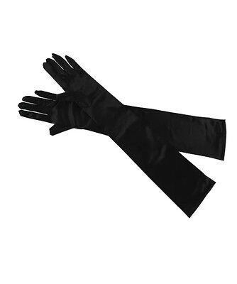 Black Long Ladies Evening Gloves Flapper 20s 30's Fancy Dress Opera Burlesque - Flapper Gloves Black