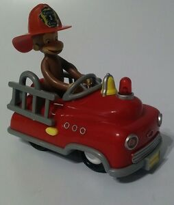 Curious George 2006 Marvel Toys Light And Sounds Brown Monkey Fire Hat Pedal Car