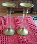 BRASS & LUCITE TALL CANDLE STICKS ~ SET OF 2 picture