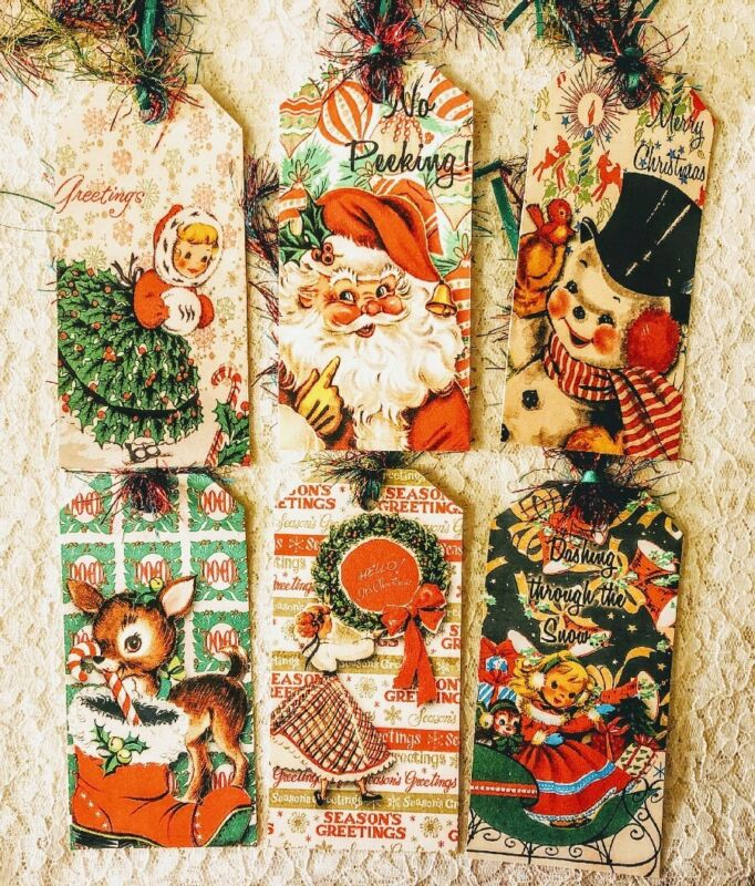 Christmas Holiday Vintage Retro Tags~Set of 6 Gift Tags~Parties~Scrapbook~426R